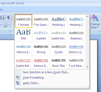 Choosing a style in Microsoft Word